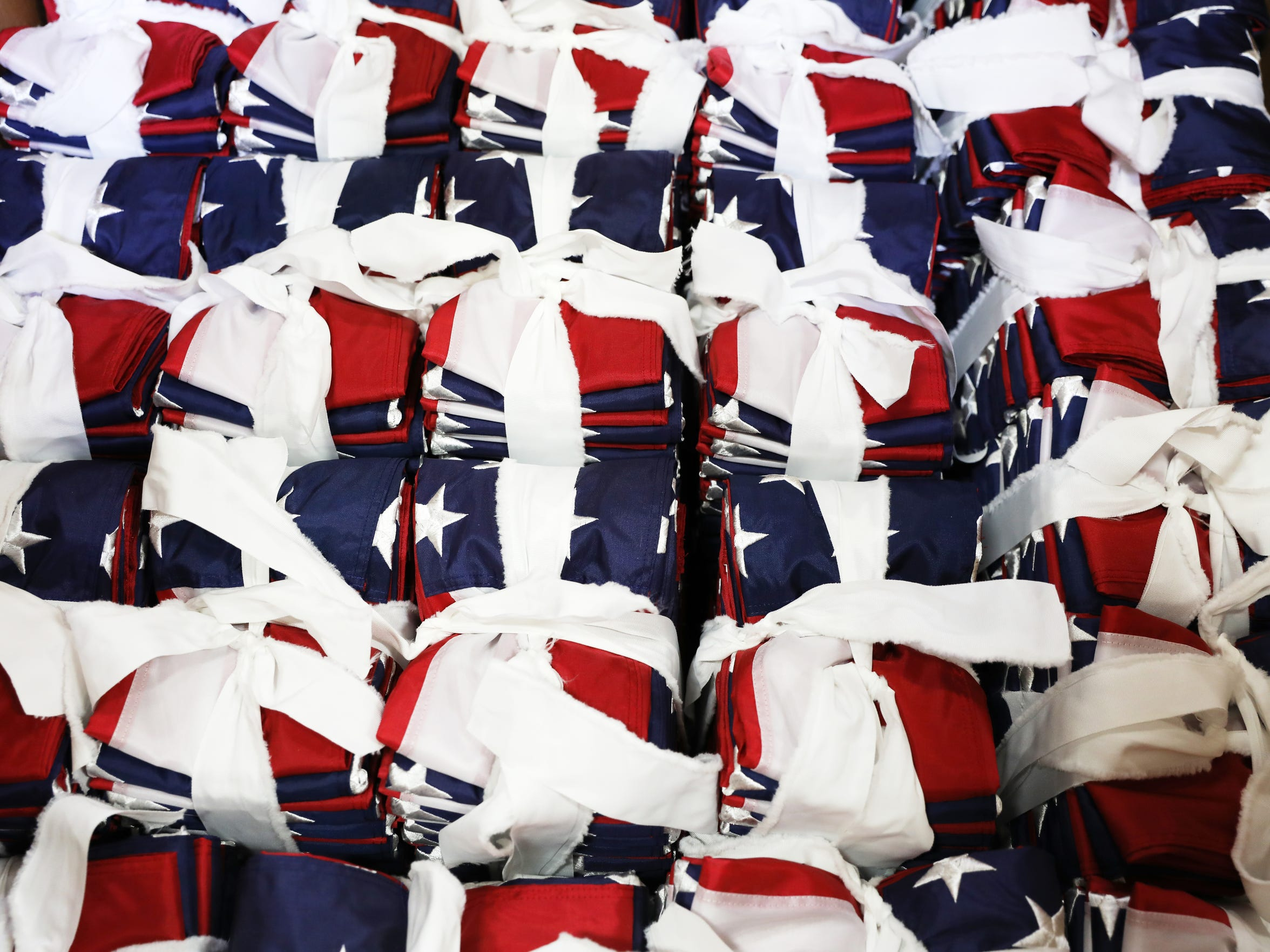 Flags in bundles waiting to be packaged at Annin Flag