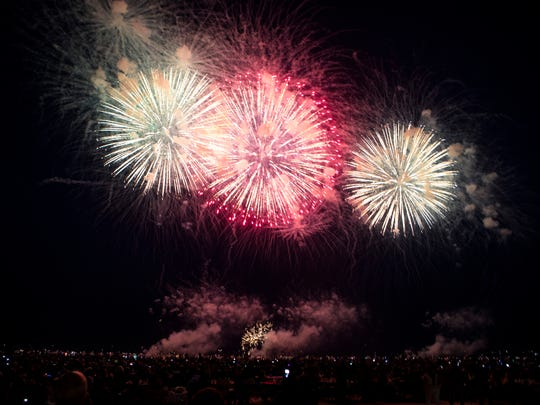 The U.S. Bank Fireworks Show lights up the sky over Lake Michigan on July 3, 2018. The bank announced last year that 2018 would be its final year sponsoring the lakefront fireworks display.