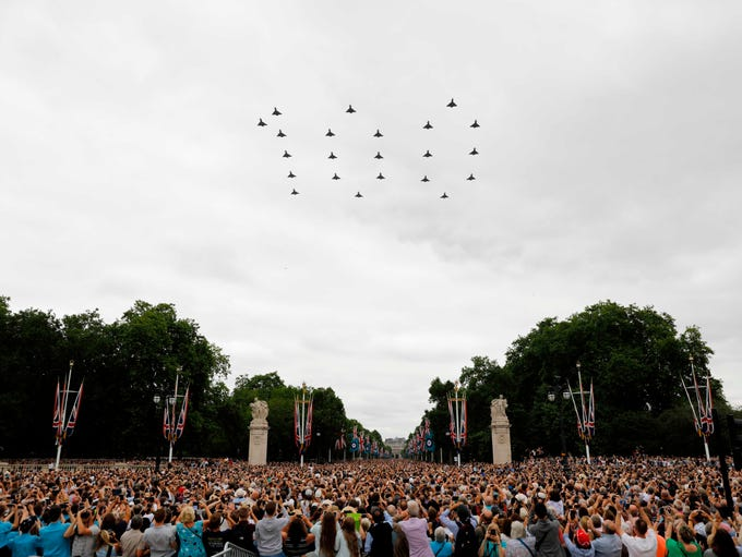 "Typhoon aircraft spell out ""100"" as they take part"