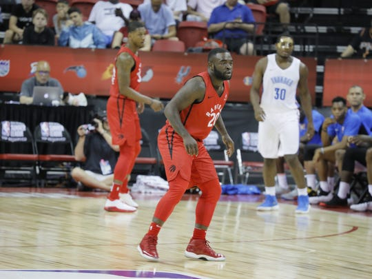Former MTSU guard Giddy Potts defends while playing for the Raptors in the 2018 NBA Summer League in Las Vegas.