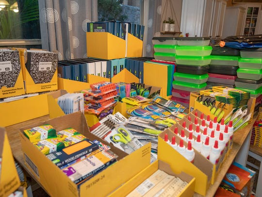 School supplies donated to Anna Packs sit in Lilianna