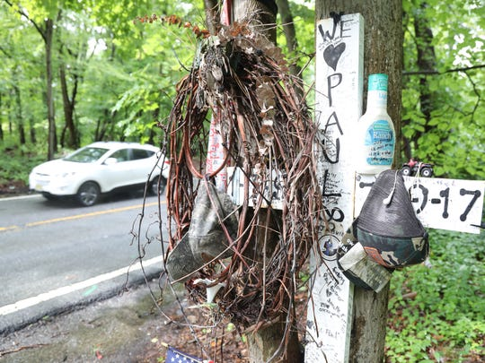 A view of the accident site in July 2018, a year after a single-car crash killed Paul Roberts, a 20-year-old landscaper from West Milford, on July 29. Roberts reportedly had been drinking at a party at the home of Township Councilman Peter McGuinness, who wasn't home at the time.