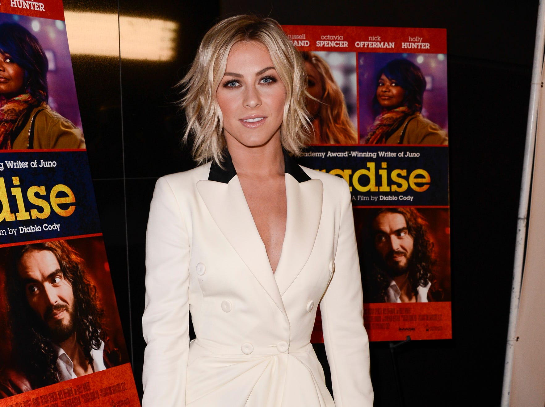 Dancer-actress Julianne Hough looks smart and sharp in her black-tipped white Moschino dress, Stuart Weitzman pumps and Edie Parker clutch. She attends a special screening of 'Paradise' on Aug. 6 in Los Angeles.