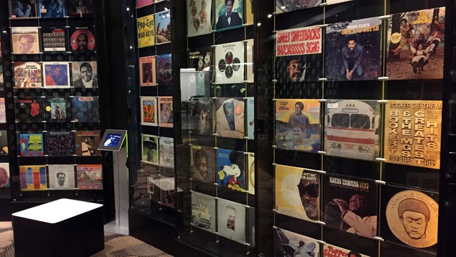 Displays of records at the Stax Museum of American Soul Music in Memphis, Tenn., whose recording roster included Otis Redding, Isaac Hayes and the Staple Singers.