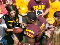 Jaelen Strong catches a pass during the first day of ASU's spring football practice at Bill Kajikawa Football Practice Fields in Tempe on Tuesday, March 18, 2014.