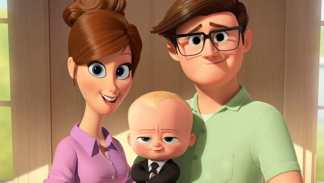 Tim's mother (voiced by Lisa Kudrow) and father (Jimmy Kimmel) introduce 'The Boss Baby' (Alec Baldwin).