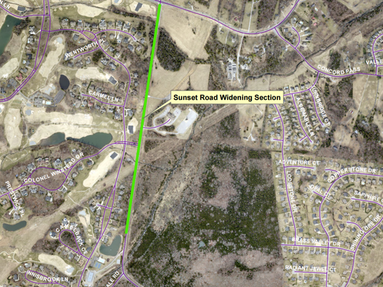 The widening project planned for Sunset Road would stretch from its current intersection with Ragsdale Road northward to Concord Road.