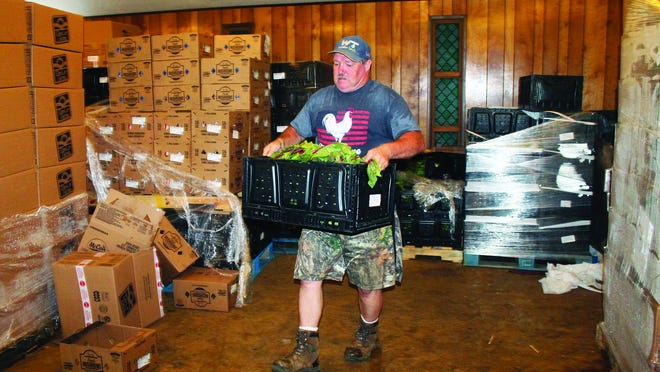 Pictured is James Parent organizing the assembly line of produce through the church.