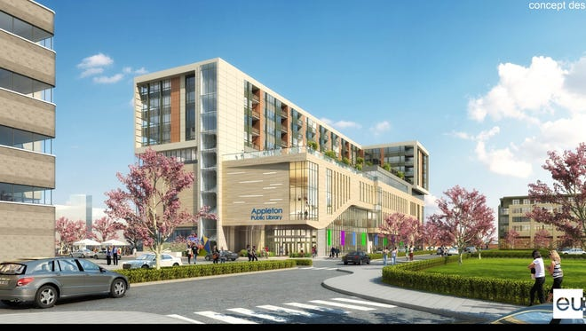 Developers have proposed a new library and housing development in downtown Appleton.