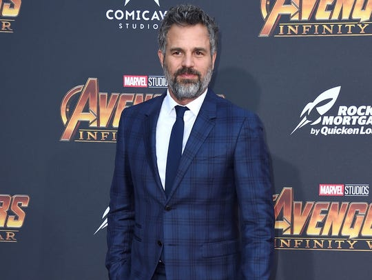 "Mark Ruffalo arrives at the world premiere of ""Avengers:"