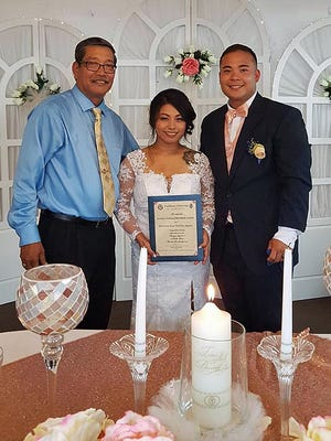 Raeanna Aguon and Jeremy Acfalle were wed July 20 in Talofofo. Sen. Joe San Agustin officiated their wedding, his 25th since taking office. As a service to the community, San Agustin happily officiates weddings for free.