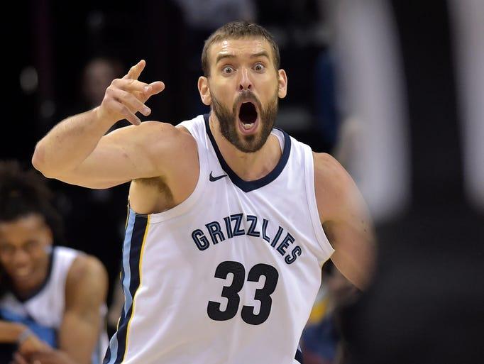 Memphis Grizzlies center Marc Gasol (33) reacts to