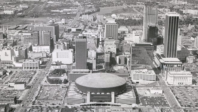 An aerial photo of Downtown Indianapolis looking west from I-65 and I-70 taken on Oct. 1, 1981.
