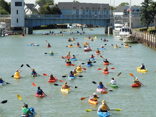 Crowed of kayaks