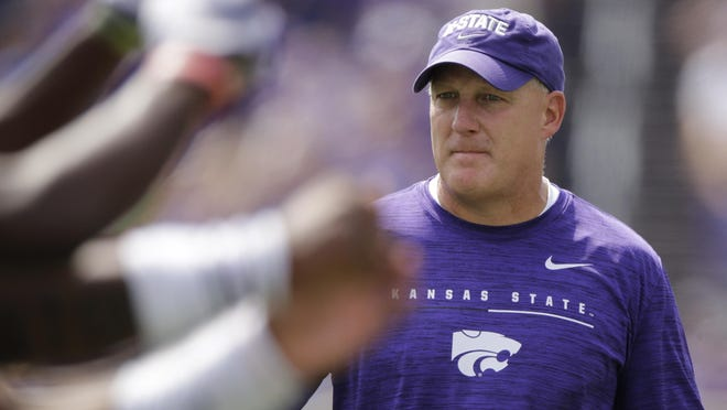 Kansas State head coach Chris Klieman watches during the first half of Kansas State's game against Bowling Green Saturday, Sept. 7, 2019, in Manhattan, Kan.