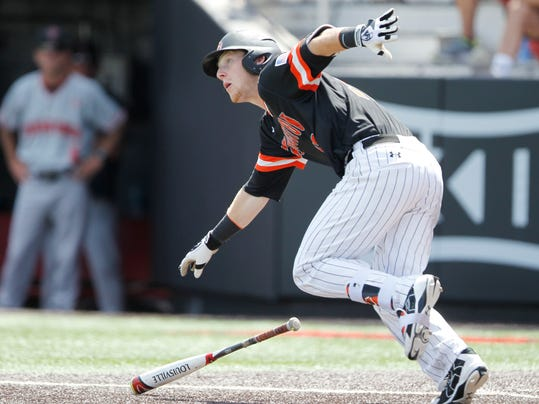 Sam Houston State's Taylor Beene bunts in the 6th inning during an NCAA college Regional baseball game against Sam Houston State University at Dan Law Field at Rip Griffin Park, Monday, June 5, 2017, in Lubbock, Texas. (Mark Rogers/Lubbock Avalanche-Journal via AP)