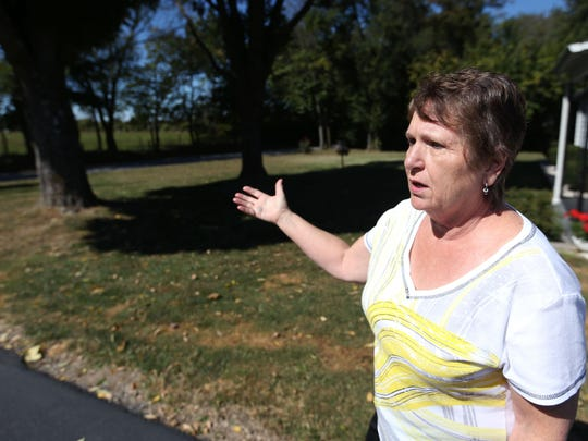 Janet Johnson talks about the possibility of new retail stores being built in a field across from her home on Farm Road 129 near Sunshine Street.