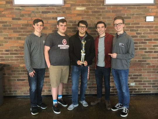 Henderson County High School quick recall team members Alex Chandler, DJ Banks, Zachary Beickman, Harrison Jenkins and Cole Privette display their first place trophy after winning the NAQT Kentucky State Championship March 3 at the University of Kentucky in Louisville. The team will attempt to defend its overall Governor's Cup state title March 17-19 in Louisville.