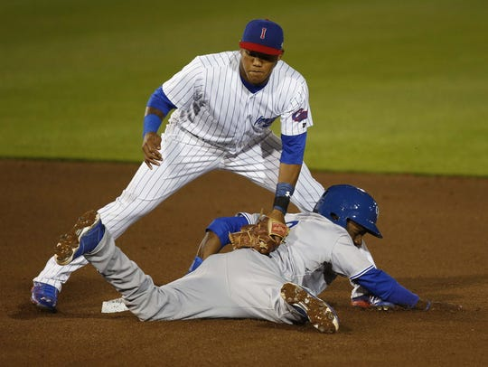 Addison Russell played briefly with the Iowa Cubs back in 2015.