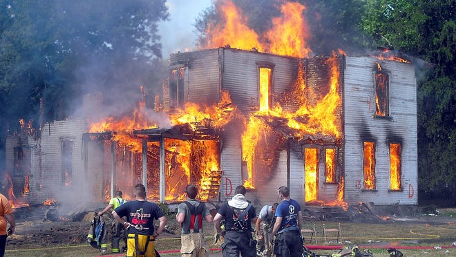 Firefighters from Greenwich, Wakeman, Townsend, Milan Township, Perkins, EHOVE and New London recently conducted training exercises on an old house at 107 West Main St.