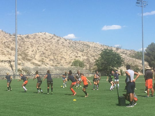 The UTEP women's soccer team lined up for sprints during