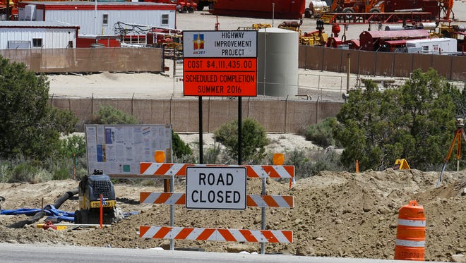 Road work for an arterial route is pictured Tuesday along U.S. 550 in Aztec.