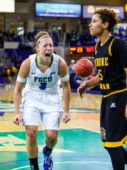 FGCU's Katie Meadow celebrates a score and a foul in