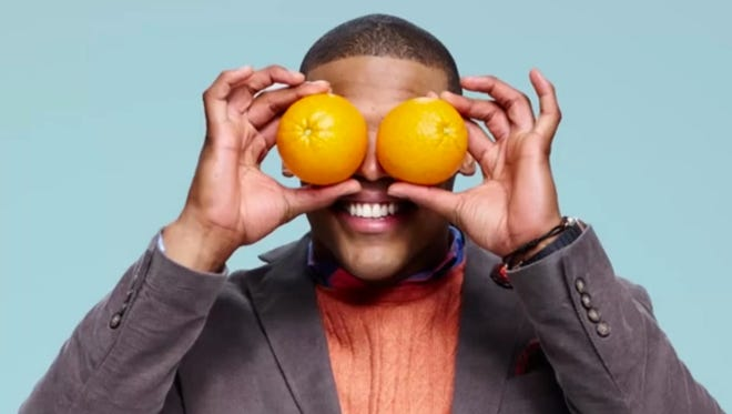 """Carolina Panthers quarterback Cam Newtown is featured in the organization's """"FNV"""" ad campaign. The celebrity-studded campaign being launched Thursday, Feb. 26, 2015 aims to market fruits and vegetables like they were any other popular packaged snacks."""