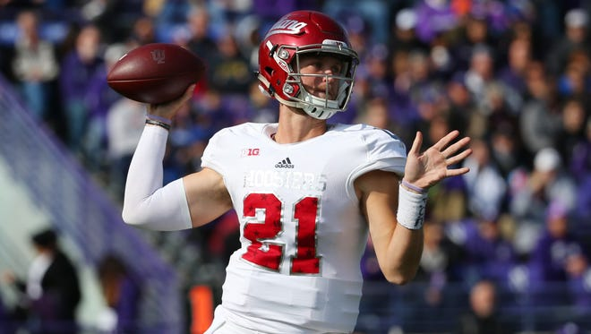 Oct 22, 2016; Evanston, IL, USA; Indiana Hoosiers quarterback Richard Lagow (21) throws a pass against the Northwestern Wildcats in the first quarter at Ryan Field.