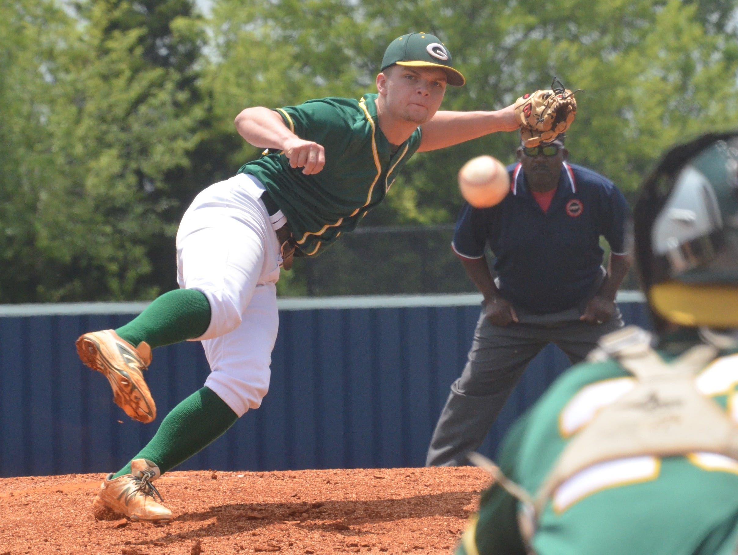 Gallatin's James Rockwell fires a second-inning strike.