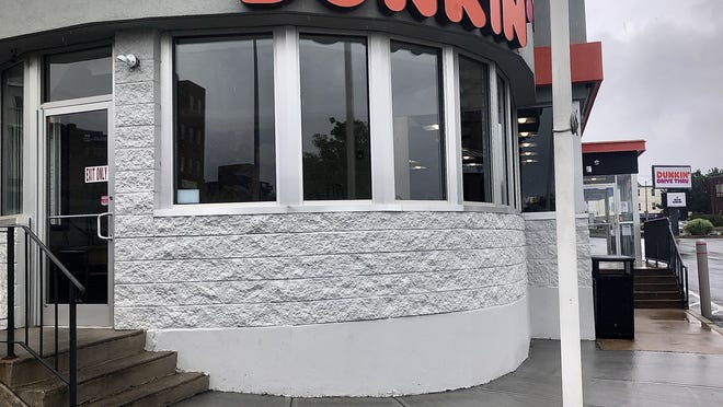Customers can no longer use the bathrooms inside the Milliken Boulevard Dunkin' in Fall River.  Herald News photo by Charles Winokoor