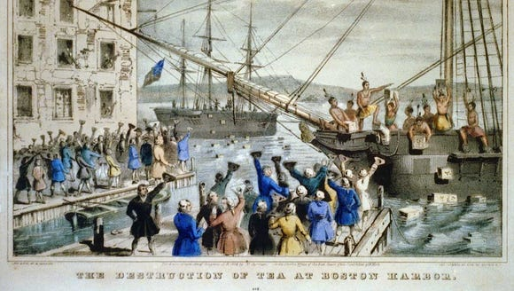 "The Destruction of Tea at Boston Harbor"", lithograph,"