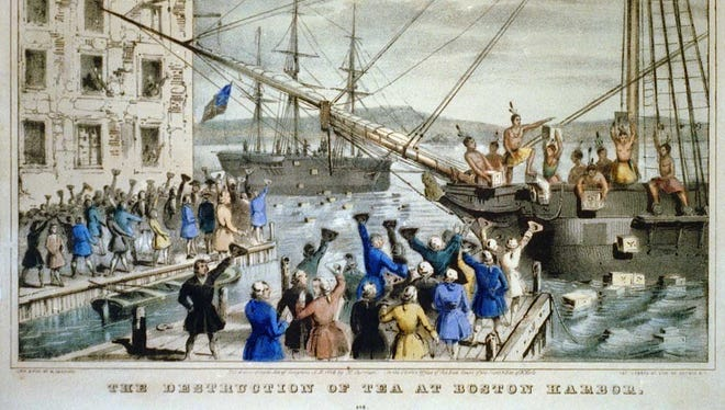 """The Destruction of Tea at Boston Harbor"""", lithograph, Nathaniel Currier."""