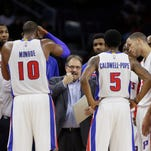 Detroit Pistons coach Stan Van Gundy directs his players against the Houston Rockets on March 6, 2015.
