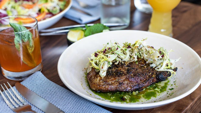Bone-in lamb steak with charred fennel at Verbena, which is now open in downtown Austin.