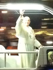 Pope Francis during the papal parade Saturday night