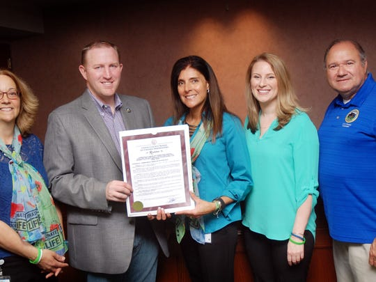 Union County Freeholders Christopher Hudak and Angel G. Estrada present a resolution to Michele Dabal, Sue Quiroga and Elizabeth Stamler of NJ Sharing Network recognizing April as National Donate Life Month in Union County. NJ Sharing Network, based in New Providence, is the nonprofit organization responsible for the recovery and placement of donated organs and tissue for those in need of a lifesaving transplant. For more information, visit www.njsharingnetwork.org.