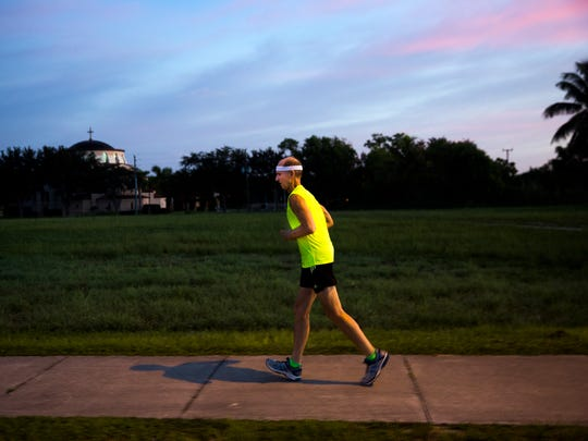 Sam Johnston, 75, runs near his neighborhood on Tuesday, September 5, 2017 in North Naples. Johnston runs every morning and just eclipsed the forty year mark of running everyday without taking a day off as verified by the United States Running Streak Association.