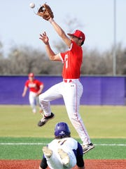 Sweetwater shortstop Chris Thompson (6) jumps over