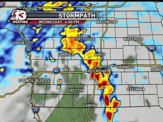 A look at the path of today's storm.