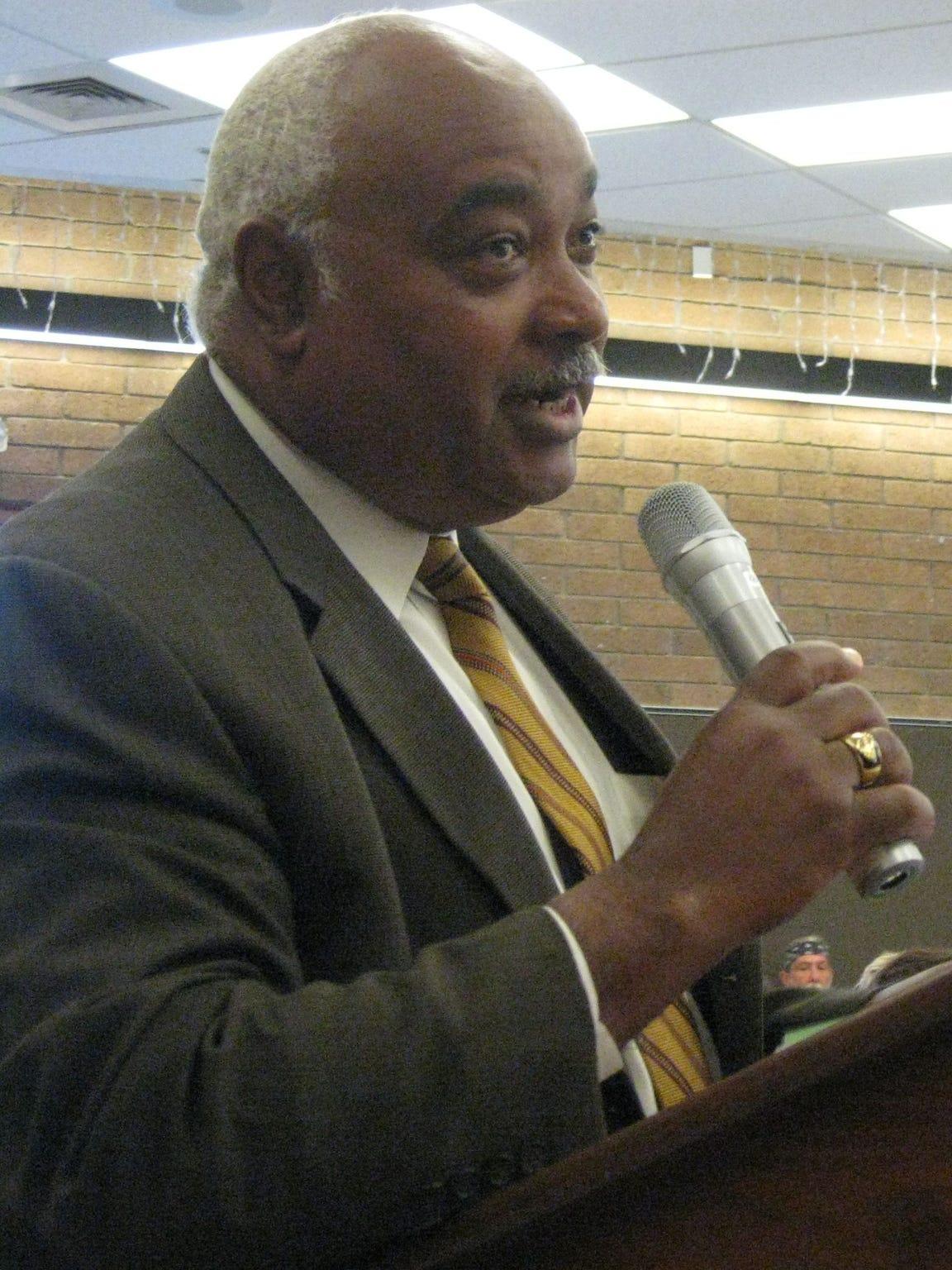 Rev. Oscar Tillman at a community budget hearing at