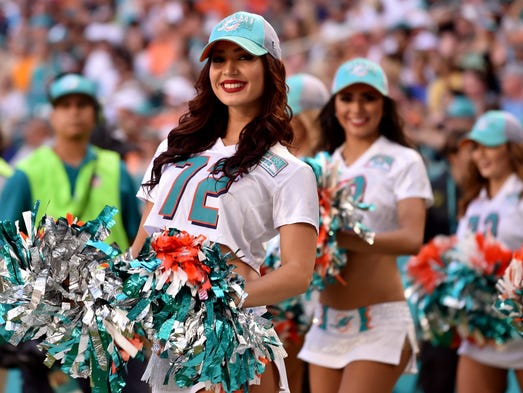 Miami Dolphins cheerleader is seen during the first