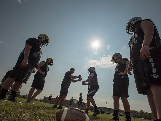 First day of football practice for Plymouth High School.