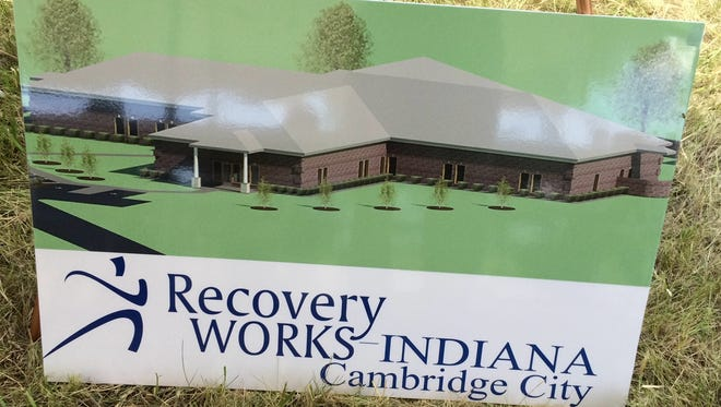 An image of the planned Recovery Works facility near Cambridge City was on display during a July groundbreaking ceremony.
