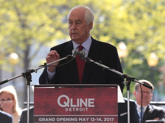Roger Penske speaks during the grand opening festivities for the QLINE at Grand Circus Park in downtown Detroit on Friday May 12, 2017.