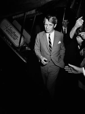 Presidential hopeful Sen. Robert Kennedy arrives in town for the Impact Symposium at Vanderbilt University on March 21, 1968.