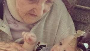 Aunt Helen, 99 years, with Great Great Great Niece Paisley Marie Bennett, 5 months old.