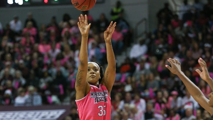 Mississippi State's Victoria Vivians (35) makes a three-pointer