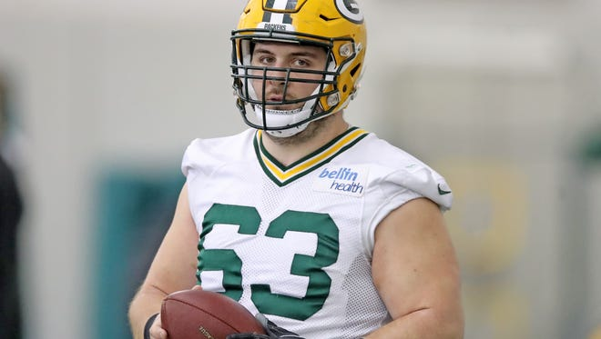 Green Bay Packers center Corey Linsley (63) checks out the media during practice inside the Don Hutson Center Wednesday, November 15, 2017 in Ashwaubenon, Wis.