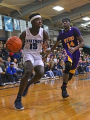 Airline's Trent Ivy looks to pass the ball in the Vikings' game against Byrd Tuesday at Airline